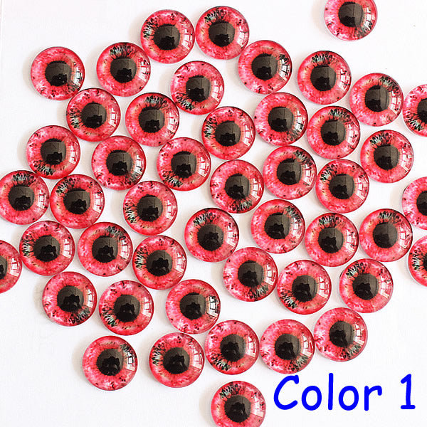 14mm Mixed Style Dragon Eyes Round Glass Cabochon Dome Jewelry Finding Cameo Pendant Settings 50pcs/lot (K03048)