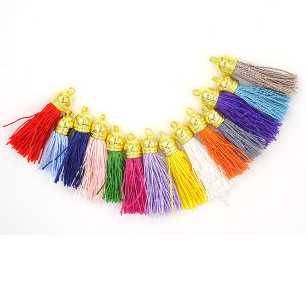 Mix Color Satin Silk Tassel 40mm Tassels For Jewelry Diy Cell Earring Necklace Charms Mobile Phone Straps Accessories 100cs/lot