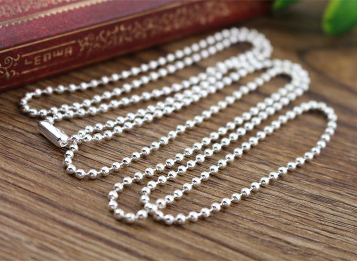 5pcs 2mm Silver Plated  Ball Beads Chain Necklace Bead Connector 65cm(25.5 inch)  (Z1-05)
