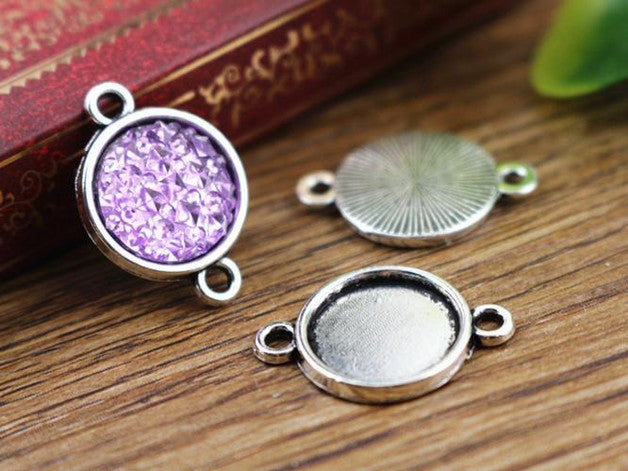 20pcs 12mm Inner Size Antique Silver Simple Style Cabochon Base Cameo Setting Charms Pendant (A2-03)