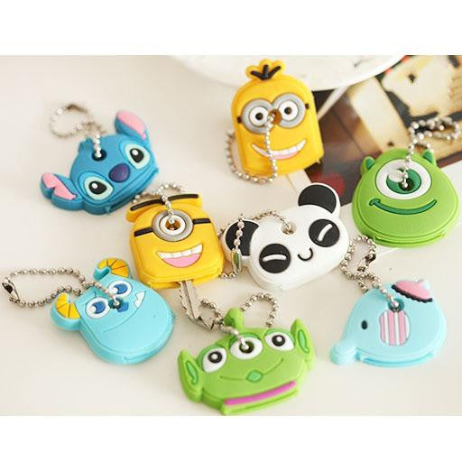 2016 Kawaii Cartoon Animal Silicone Key Caps Head Covers Keys Keychain Case Novelty Topper Keyring Phone Strap Hot Sale