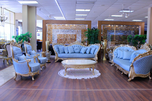 Blue Mosque Classic Sofa Set, 4-Pieces (Ice Blue)