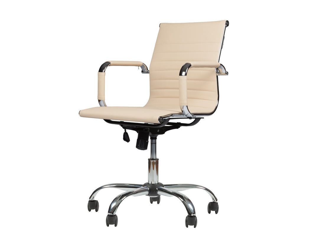 Mid-Back Leather Office Desk & Computer Chair WF 7160