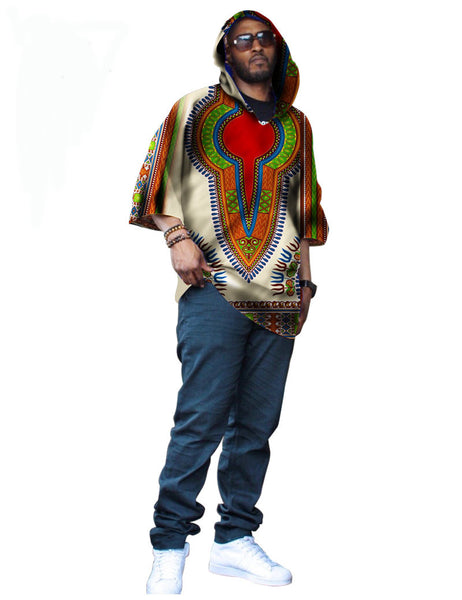 Casual Men's Hooded 1/2 Sleeve Dashiki