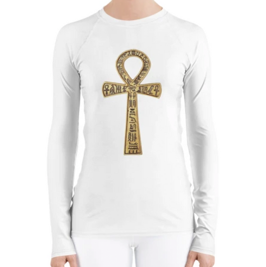 Inner Alkebulan™ Women's White Long-Sleeve Ankh T-Shirt