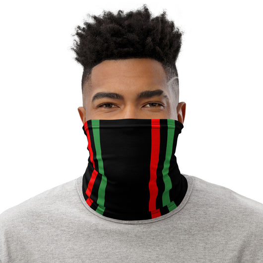 Solid Black RBG Vertical Striped Neck Gaiter