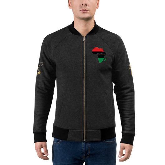 Inner Alkebulan™ RBG Africa Bomber Jacket with Ankh and Crook & Flail