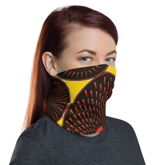 African Fabric Print Yellow Ankara Neck Gaiter Face Mask