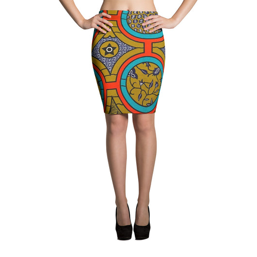 Inner Alkebulan™ Wax Print Stretch Pencil Skirt
