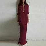 Casual Long Sleeve Maxi Dress With V-Neck - Lisa Brown's Treasure & Gifts