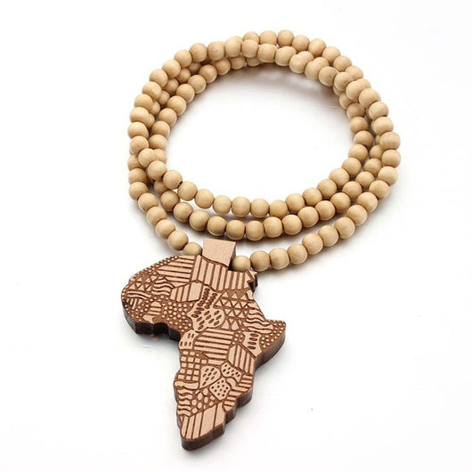 Wooden African Map Necklace (Unisex)