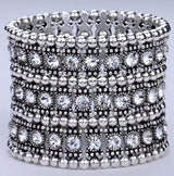 Multilayer Crystal Stretch Cuff Bracelet - Lisa Brown's Treasure & Gifts