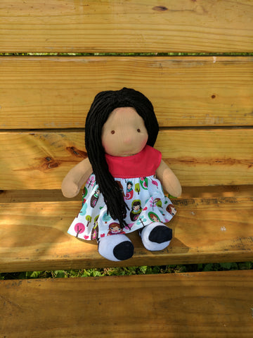 Candy: A Waldorf-inspired cloth doll with dress outfit, by Netchie Dolls