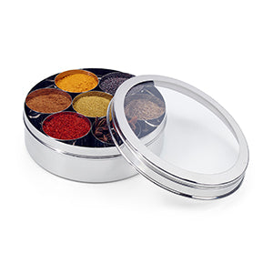 Stainless Steel Masala Dabba Round Spice Box With Clear Top Lid, Wedding Gift  Authentic Spice Box | Size 10