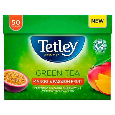 Tetley Green Tea Mango & Passion Fruit 50 Tea Bags 100G