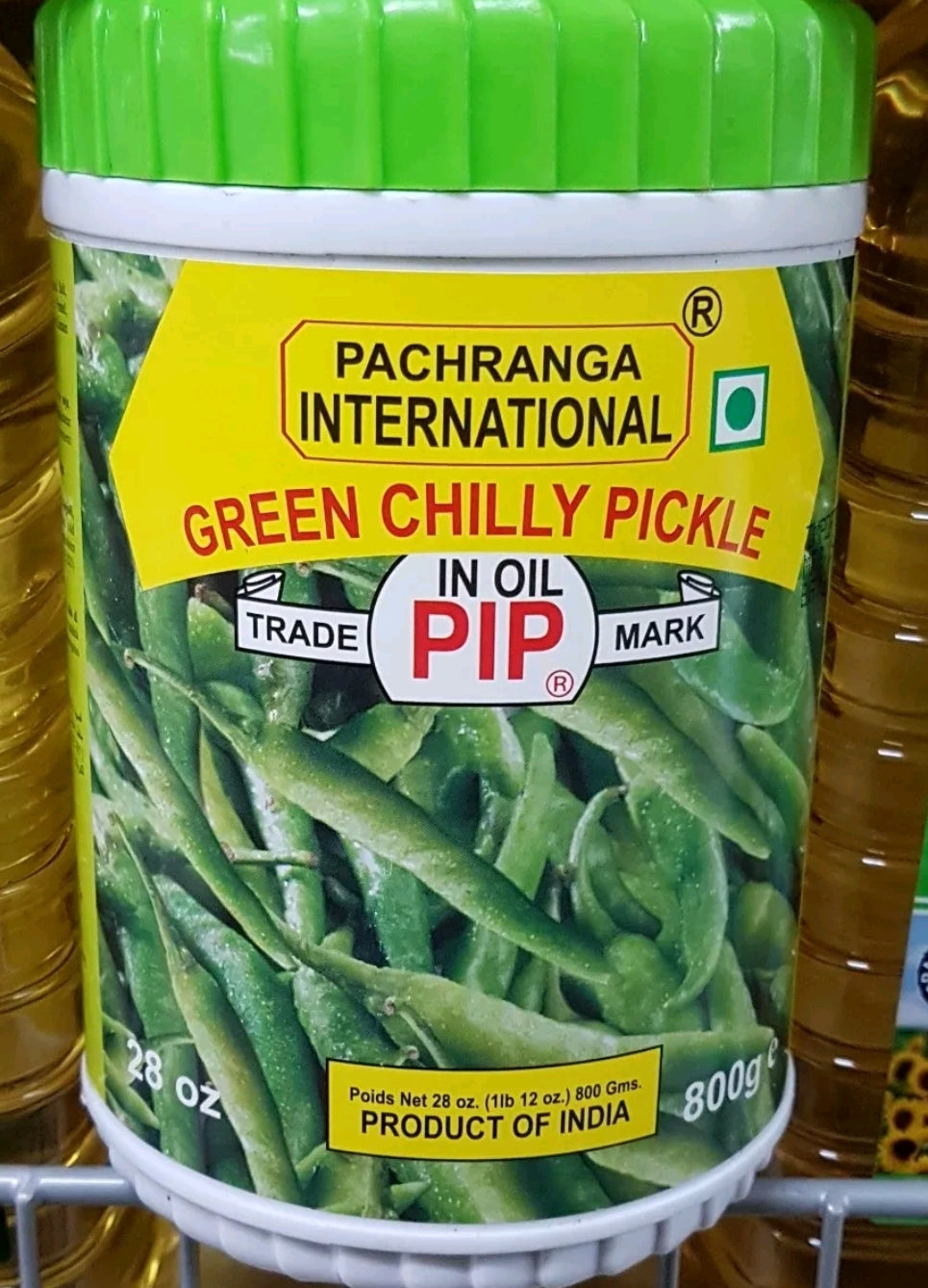 Pachranga Green Chilli Pickle  in Oil 800g
