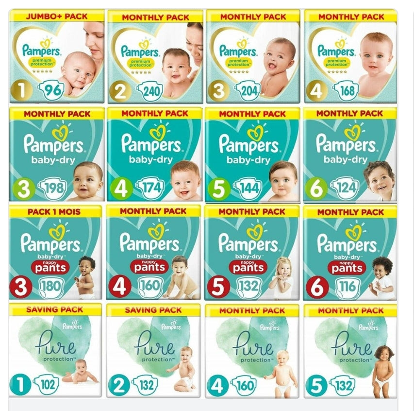 Pampers Baby Dry Nappies All Varieties
