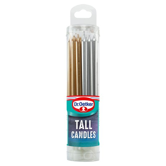Dr. Oetker Tall Metallic Candles 18 Pack