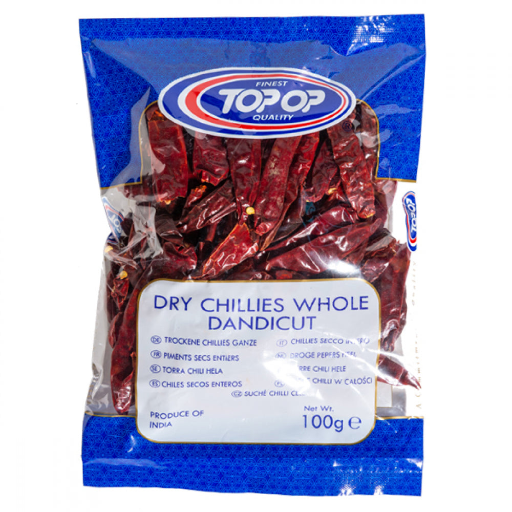 TOPOP DRY WHOLE CHILLI (STEM LESS) 100g