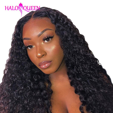 HALOQUEEN Kinky Curly Bundles with 13x4 Frontal Closure Brazilian Lace Frontal with Bundles Remy Human Hair Bundles With Closure
