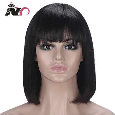 NY Hair Straight Bob Wig Peruvian Remy Hair Mid-Length Human Hair Wigs For Women Natural Color Full Machine Made Wigs With Bang