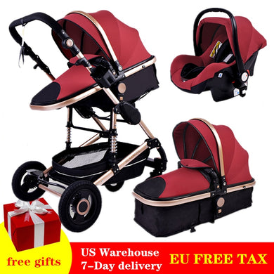 Luxury Multifunctional 3 in 1 Baby Stroller Portable High Landscape Gold Black Baby Carriage Folding Newborn Carrinho De Bebe