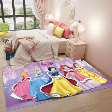 Cartoon Mat Living Room Carpet Long Hair Bedside Rug Living Room Coffee Table Rug Girl Princess Mat Non-slip Baby Playmat