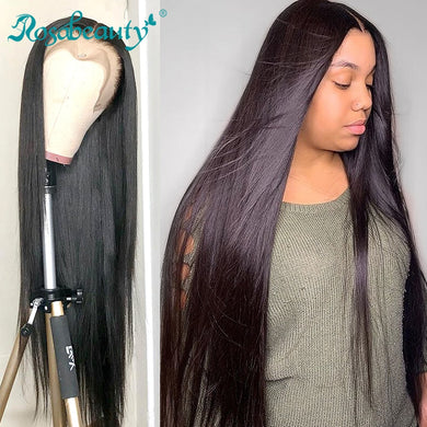 Rosabeauty Brazilian Straight Glueless Lace Front Human Hair Wigs Pre Plucked For Black Women 28 30 Inch Full 360 Frontal Wig