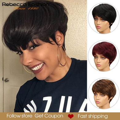 Rebecca Short Cut Straight Hair Wig Peruvian Remy Human Hair Full Wigs For Black Women Brown Red Color Cheap Hair With Bangs Wig