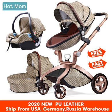 Baby Stroller 3 in 1,Hot Mom travel system High Land-scape stroller with bassinet in 2020 ,Upgrade Grid color
