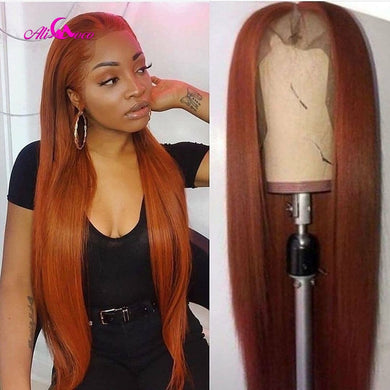 Transparent 28 30 inch Brazilian Straight Human Hair Wigs Orange Ginger Lace Frontal Wigs 13x4 /13x6 Remy Hair Wigs Pre Plucked
