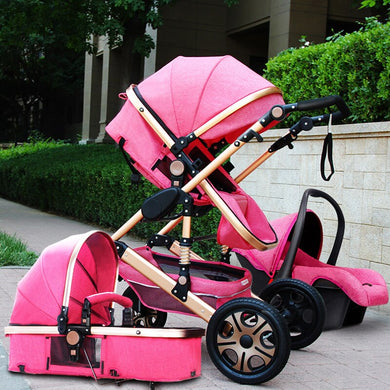 Luxury Baby Stroller 3 in 1 with Car Seat Portable Reversible High Landscape Baby Stroller Hot Mom Pink Stroller Travel Pram