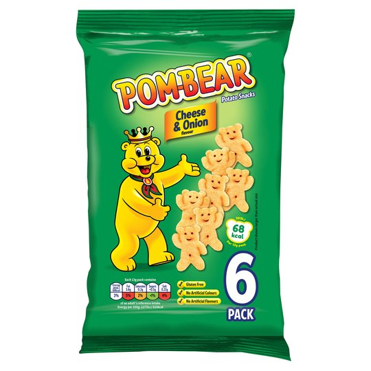 Pom Bear Cheese & Onion Crisps 6 Pack 6 X 13G