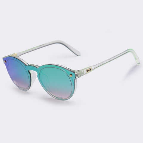 Oval Retro Reflective Mirror Sunglasses - Divine Blu