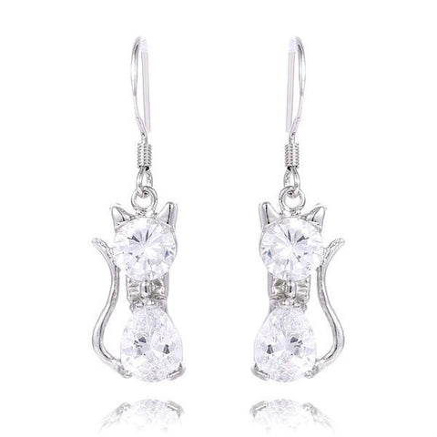 Elegant Silver Cat Drop Earrings - Divine Blu