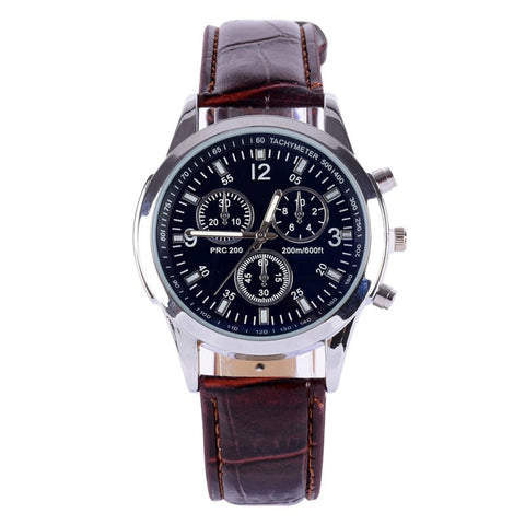 Men's Leather Stainless Steel Military Sport Quartz Wrist Watch - Divine Blu