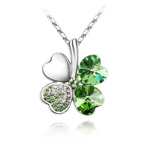 Four Leaf Clover Heart Rhinestones Necklace Pendant - Divine Blu