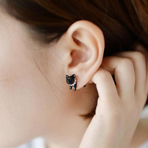 Handmade Black 3D Cat Earrings - Divine Blu