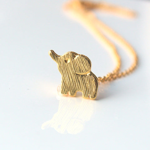 Lucky Elephant Necklace-Gold