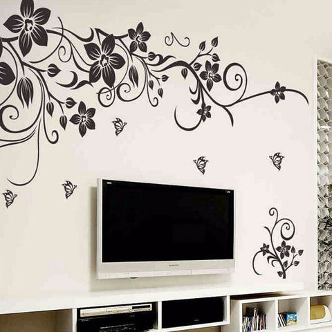 Chic Floral Wall Decal-Black