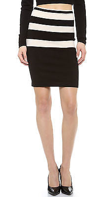 T by ALEXANDER WANG Striped Knit Pencil Skirt (Black & Bone) - Size Small