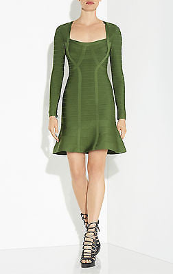 HERVE LEGER Rita Signature Essentials Green Flounce Dress - Unworn - Size Small