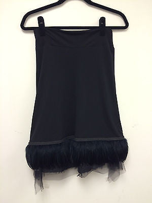 NEW ROZAE NICHOLS Skirt - Black with Feathers and Sequins at Hem - Size M
