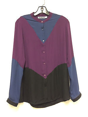 JEUNESSE Silk Blouse - Blue, Purple and Black - Size Small