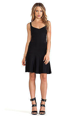 TORN BY RONNY KOBO Loriana Black Sheer Panels Drop Waist Dress - Size Small