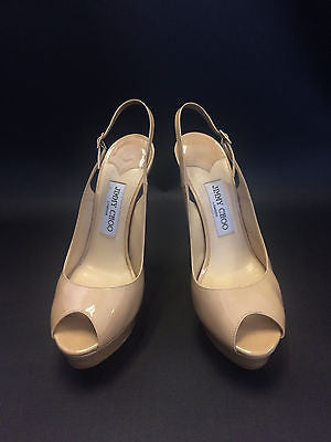 JIMMY CHOO Shaw Slingback Patent Leather Peep-Toe Platform Pumps - Size 38