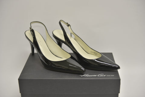 "KENNETH COLE ""Secret Date"" Black Patent Leather Slingback Heels (New)"