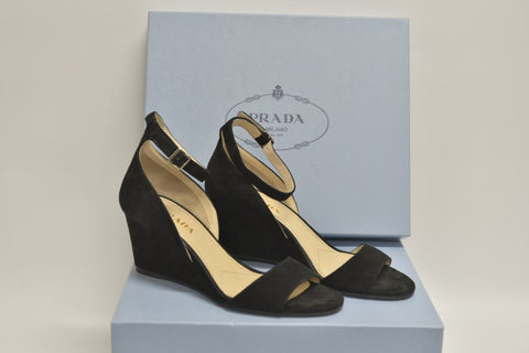 PRADA Black Suede Ankle-Strap Wedge Sandals (New)
