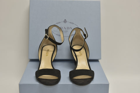 809cb7fbb22 PRADA Black Suede Ankle-Strap Wedge Sandals (New) – Public Counsel