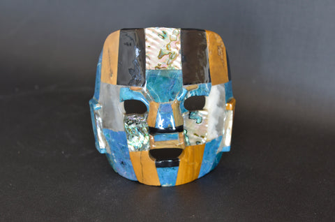 Multi-Stone Glazed Mask Sculpture